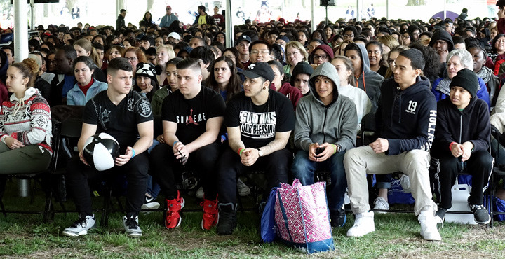 A large crowd of young people participate at the Mass offered by Cardinal Dolan at New York Catholic Youth Day April 30.