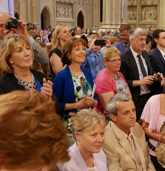Family and friends gather in St. Patrick's Cathedral for the ordination of 14 new priests on May 28.