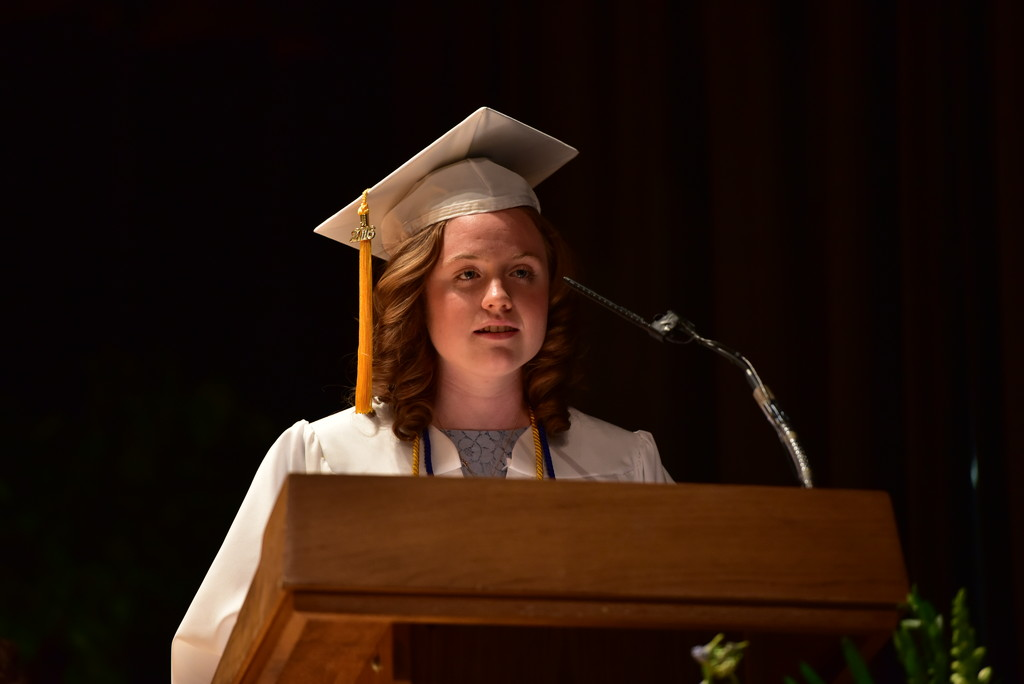 Valedictorian Brigid Catherine Lahiff of The Ursuline School in New Rochelle addresses members of the Class of 2016 at the school's commencement on May 20.