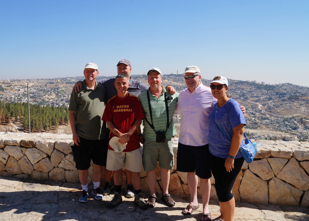 High school educators—Daniel O'Keefe, Cardinal Spellman; Matthew Bobo, Fordham Prep; Brother William Sherlog, C.F.C., Cardinal Hayes; Martin Carney, Fordham Prep; Father Michael Dolan of the Archdiocese of Hartford, Conn.; and Alina Troya, Holy Child—visit the Holy Land in July on a study program sponsored by the Anti-Defamation League.
