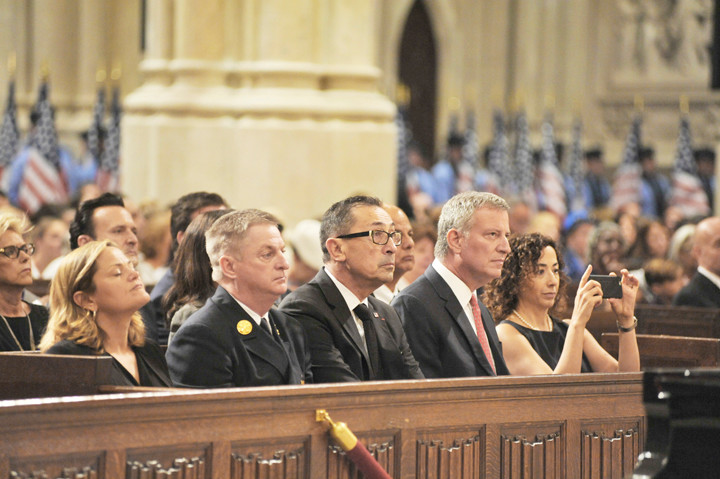 Sept 10, 2016 15th anniversary memorial service held at St Patrickís Cathedral for the 343 members of the FDNY who perished on September 11, 2001 in a terrorist attack of the World Trade Center.  With Cardinal Timothy M. Dolan, Mayor Bill de Blasio, Fire Commissioner Daniel A. Nigro, Chief of Department James E. Leonard. Former FDNY captain and now Fr Tom Colucci joins the procession. Also chaplains Rabbi Joseph Potasnik, Msgr John Delendick, Rev Stephen Harding, Rev Joseph Hoffman, Rev Ann Kansfield, Rev V. Simpson Turner, Jr.