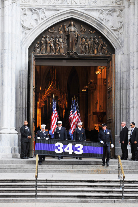 Sept 10, 2016 15th anniversary memorial service held at St Patrick's Cathedral for the 343 members of the FDNY who perished on September 11, 2001 in a terrorist attack of the World Trade Center.  With Cardinal Timothy M. Dolan, Mayor Bill de Blasio, Fire Commissioner Daniel A. Nigro, Chief of Department James E. Leonard. Former FDNY captain and now Fr Tom Colucci joins the procession. Also chaplains Rabbi Joseph Potasnik, Msgr John Delendick, Rev Stephen Harding, Rev Joseph Hoffman, Rev Ann Kansfield, Rev V. Simpson Turner, Jr.    ©maria r. bastone