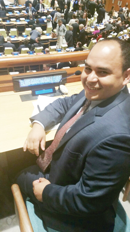 Elvis Garcia Callejas attends the Leaders' Summit on Refugees and Migrants Sept. 20 at the United Nations General Assembly in Manhattan.