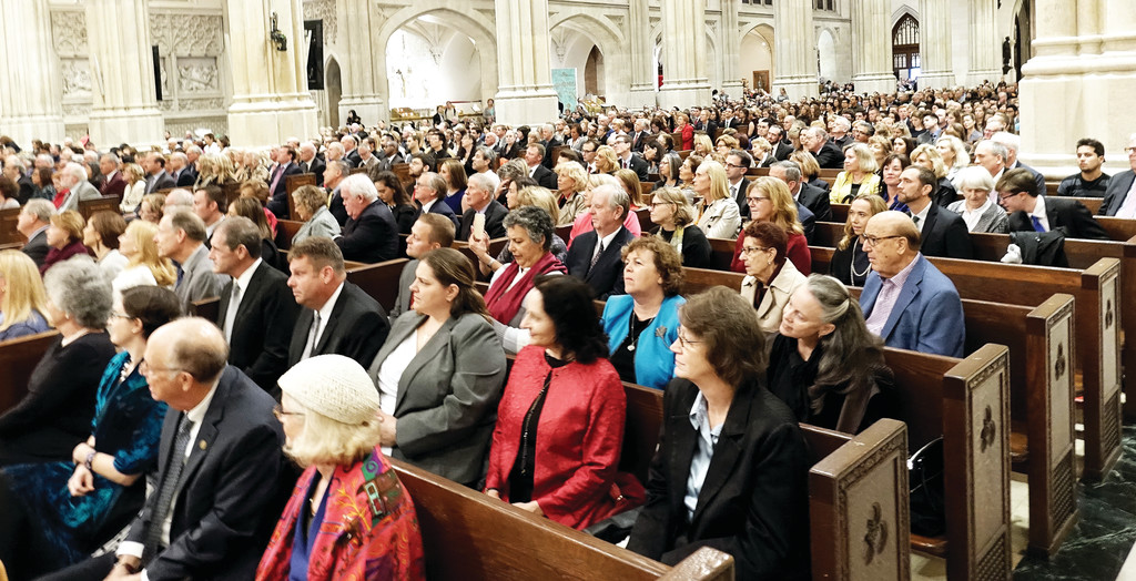 Alumni, students, professors, benefactors and friends of Fordham University fill St. Patrick's Cathedral Oct. 1 for a Mass marking the 175th anniversary of the university's founding.
