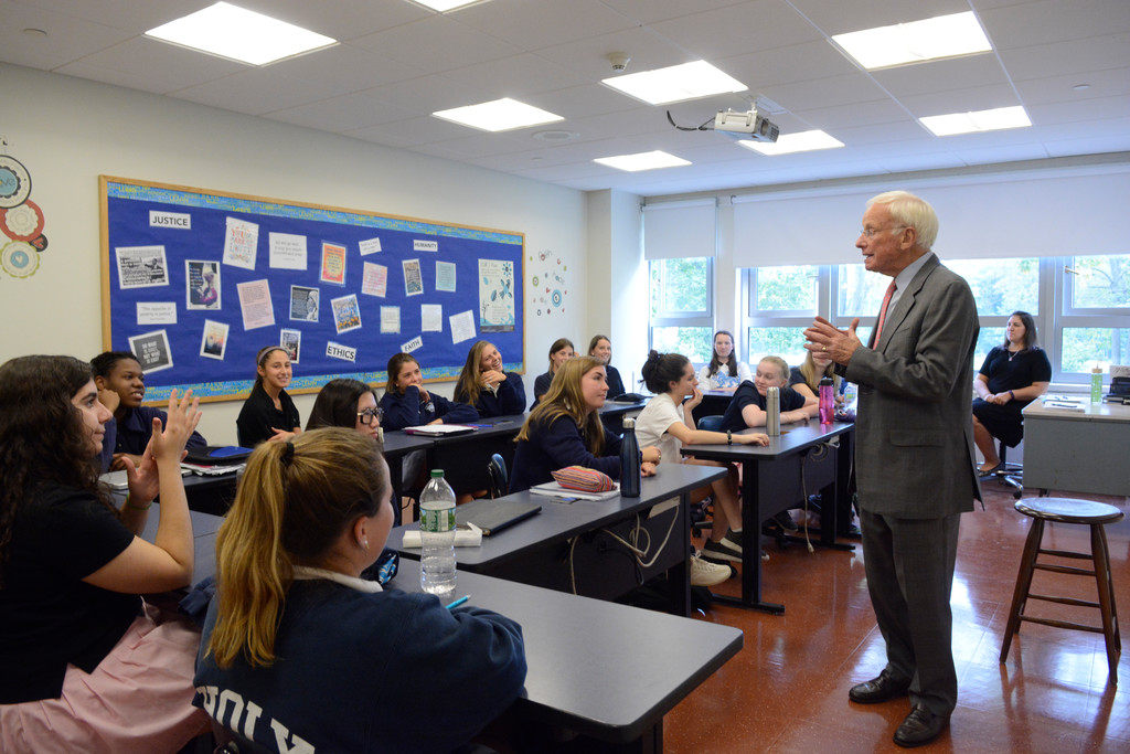 "Rabbi Daniel Wolk leads a discussion for seniors in his ""Faith in the Modern World"" class at School of the Holy Child in Rye Oct. 4."