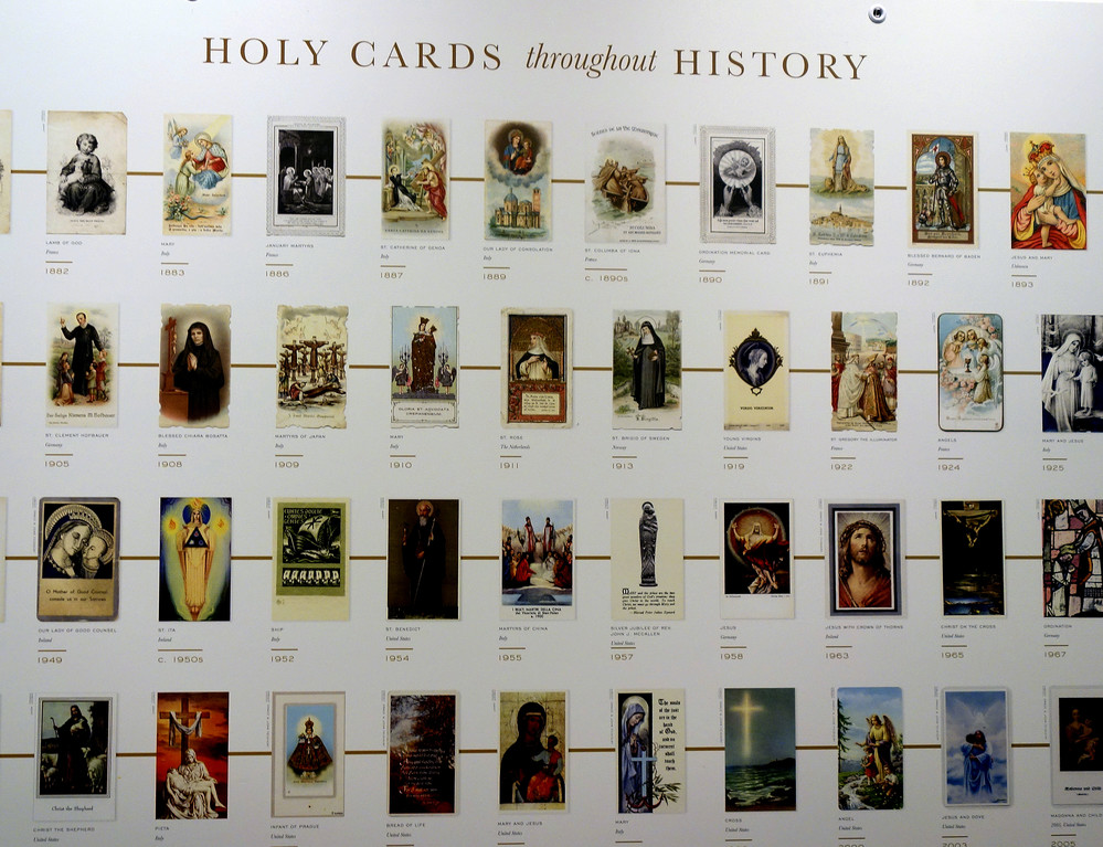 Boards trace the development of Holy Cards Throughout History. Cardinal Dolan blessed the exhibit on its first day, Sept. 28, at the Archbishop John Hughes Archives Center on the grounds of St. Joseph's Seminary, Dunwoodie.
