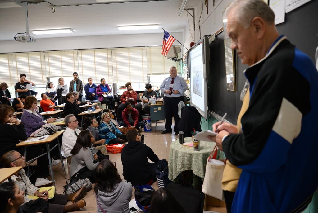 John Thompson, a catechist at St. Columba's parish in Hopewell Junction, leads a workshop on faith and science at the Catechetical Forum at Cardinal Spellman High School in the Bronx on Oct. 22. It is one of two forums for catechetical leaders in the archdiocese—the other will be held on Saturday, Oct. 29, at Sacred Heart parish in Monroe.