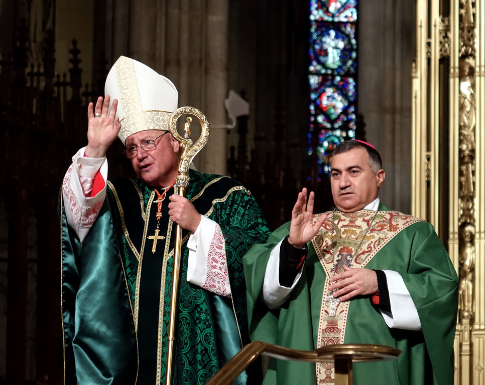 Cardinal Dolan and Archbishop Bashar Warda, the Chaldean Catholic Archbishop of Erbil, Iraq, administer the final blessing at the World Mission Sunday Mass on Oct. 23 at St. Patrick's Cathedral.