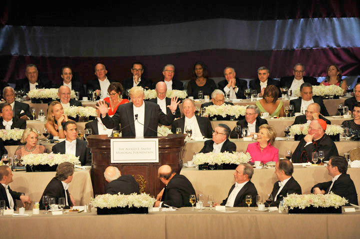 Oct 20, 2016 71st Al Smith Dinner with guest speakers presidential candidates Hillary Rodham Clinton and Donald J. Trump. Program: dinner chair Alfred E. Smith, IV; national anthem Nadine C. Sierra; invocation: Bishop Nicholas DiMarzio; Clinton; Trump; Cardinal Timothy Dolan remarks.