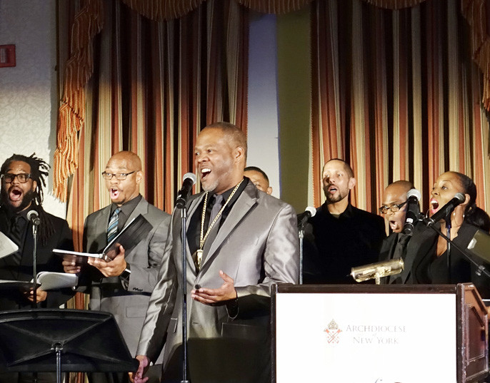 M. Roger Holland II performs at the Pierre Toussaint Scholarship Fund Awards Dinner at the New York Athletic Club on Nov. 7.