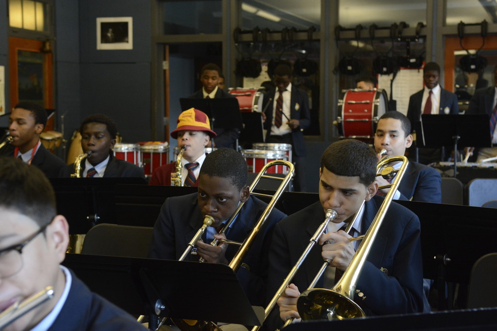 Students at Cardinal Hayes High School in the Bronx perfect their musical talents.