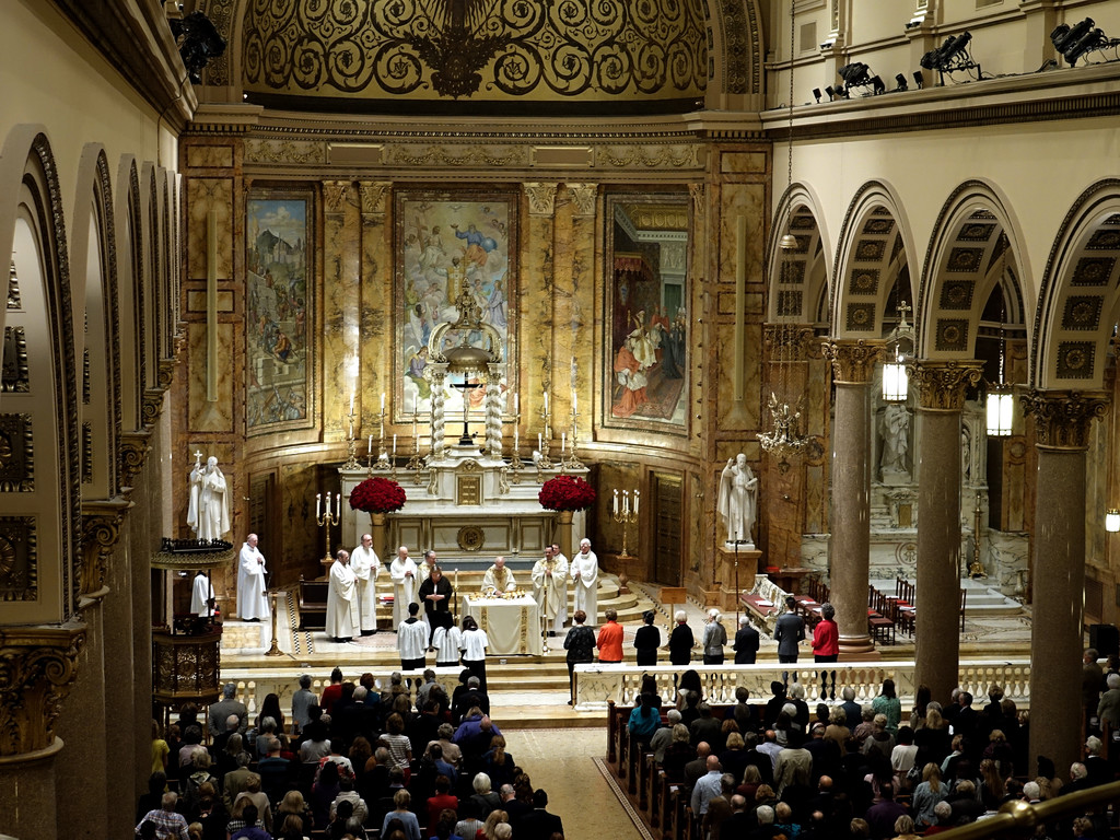 A Mass celebrating the 150th anniversary of St. Ignatius Loyola parish is offered Oct. 30. An overhead view of the Park Avenue church's interior reveals its beauty and architectural detail.