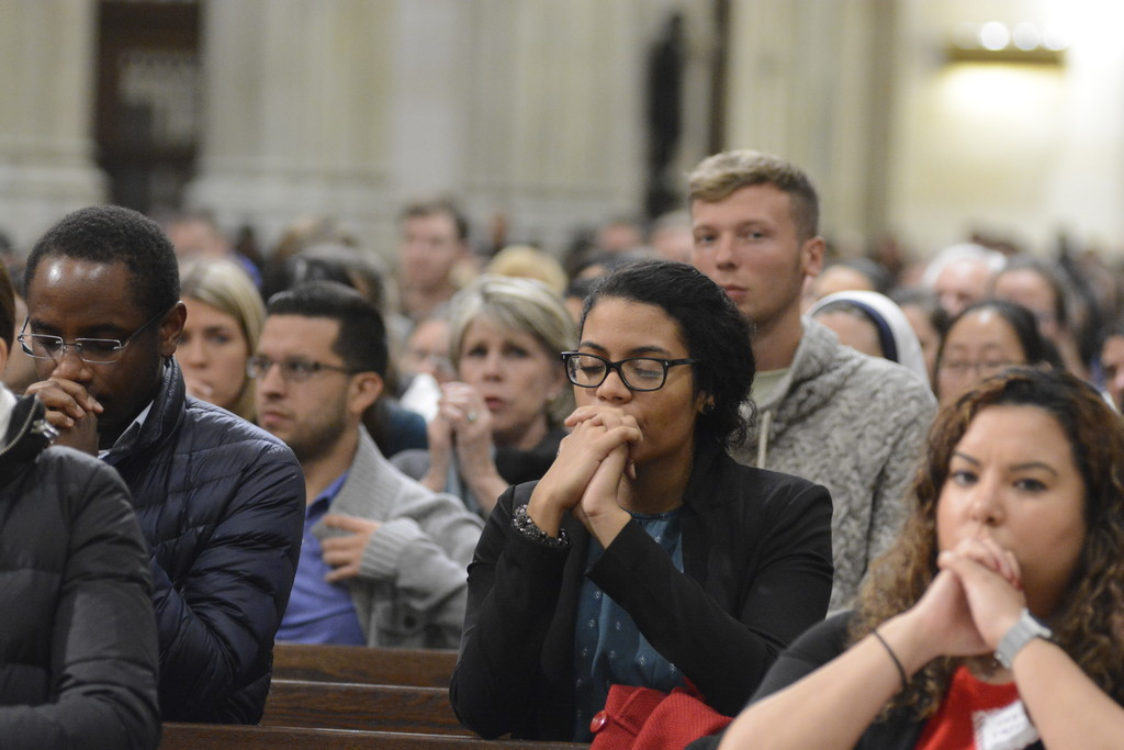 More than 2,000 young adults from the metropolitan area filled St. Patrick's Cathedral for a Vigil Mass for the Feast of the Immaculate Conception, offered by Cardinal Dolan and organized by Archdiocesan Young Adult Outreach.