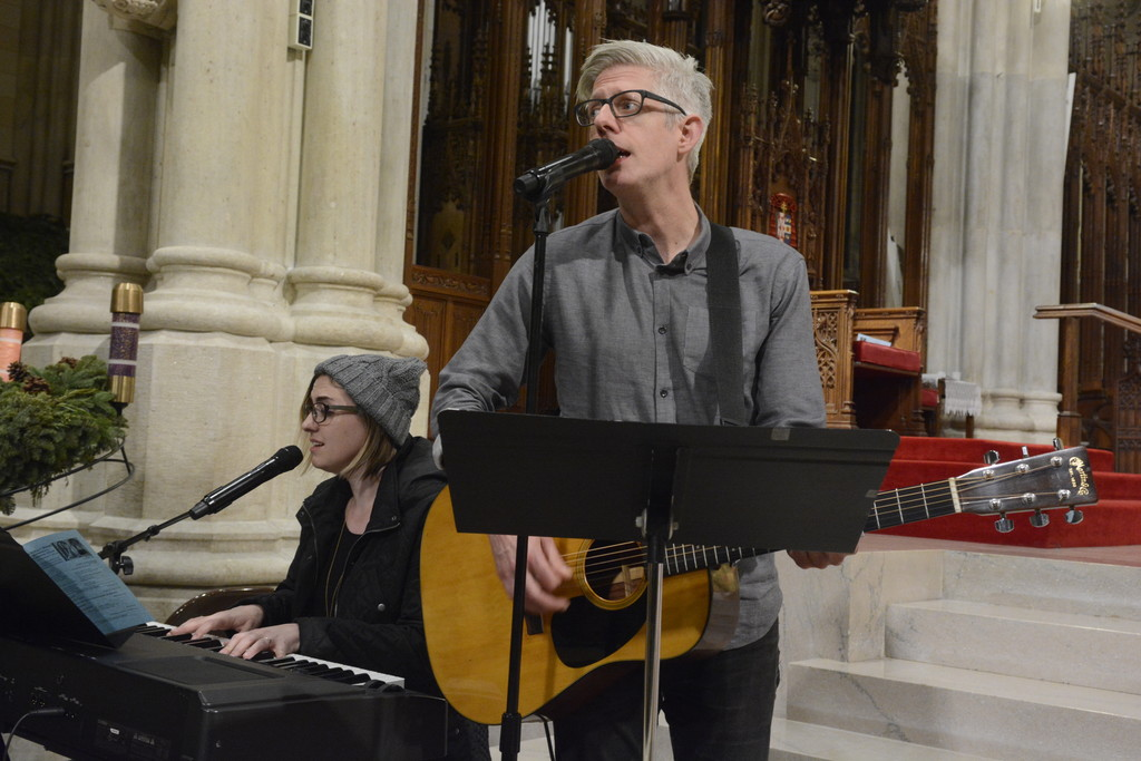 Catholic musicians Audrey Assad and Matt Maher perform during Adoration before the Dec. 7 Mass for Young Adults.