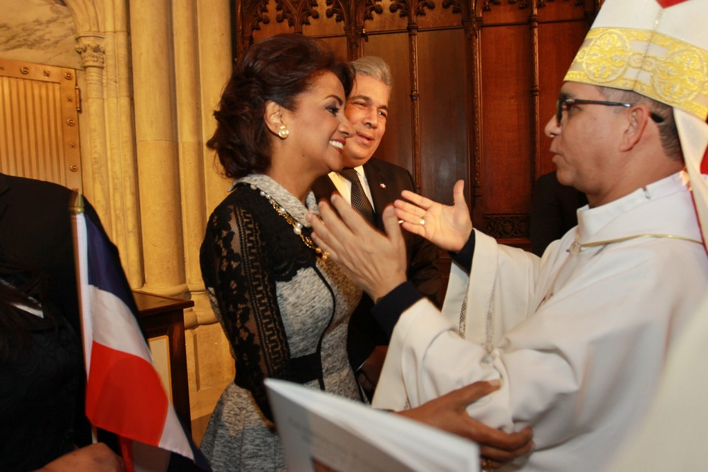 First Lady of the Dominican Republic Candida Montilla de Medina greets Bishop Hector Rafael Rodriguez Rodriguez after Mass.