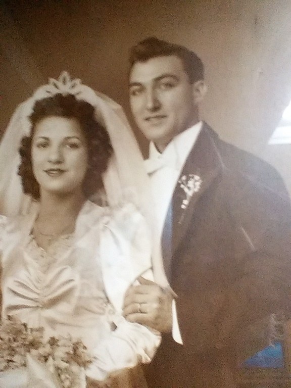 The Stellabotte, who celebrated their 72nd wedding anniversary Jan. 21 are the longest-married couple in the archdiocese. They are pictured on their wedding day in 1945.