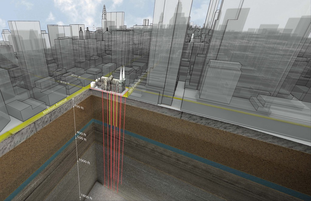 The rendering above shows the 10 wells of the newly activated geothermal plant that extend from 600 to 2,200 feet below the surface of St. Patrick's Cathedral. The deepest wells are taller than the Empire State Building, which has a height of 1,454 feet when measured to the tip of its antenna.