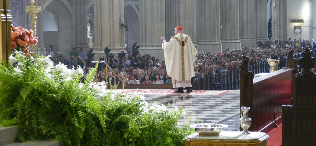 JOYFUL MORNING—Cardinal Dolan addresses the faithful as Easter flowers offer a vibrant representation of renewal April 16 at St. Patrick's Cathedral.