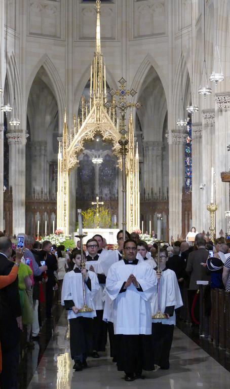 GO FORTH—The stately sanctuary of St. Patrick's Cathedral provides both a prayerful and picturesque atmosphere as the 10:15 a.m. Easter Sunday Mass concludes.