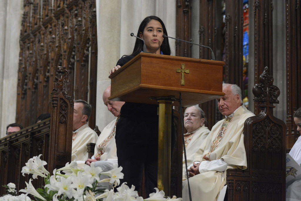 St. Raymond Academy for Girls senior Leiby Soto delivers the Word of Gratitude to Cardinal Dolan from the class of 2017 at a Mass he offered for graduating high school seniors at St. Patrick's Cathedral April 24.