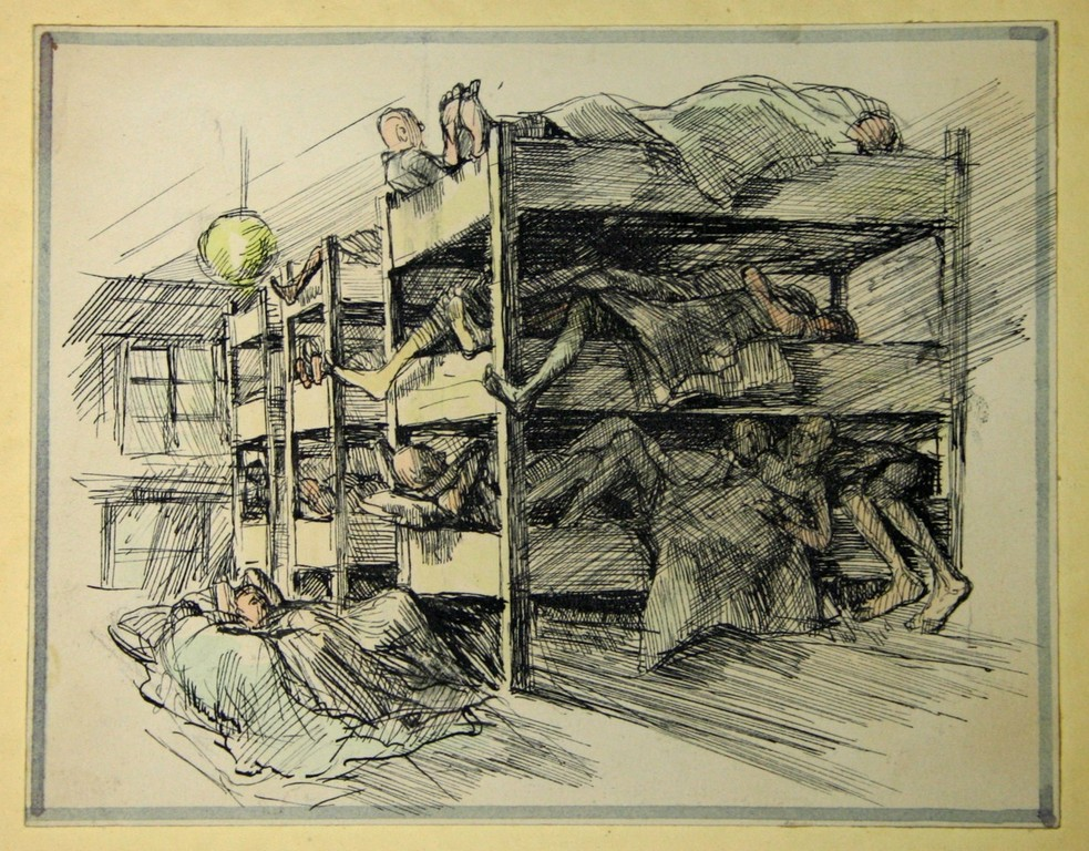 VIEW OF HISTORY—A crowded barracks scene is one example of the skilled hand of Polish Catholic prisoner Michal Porulski, a master artist whose illustrations in the Dachau Album document life in the Nazi concentration camp.