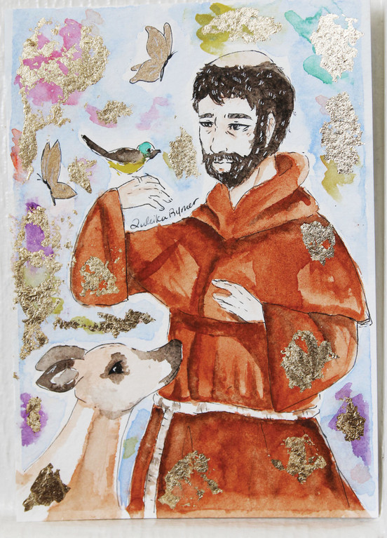 "Zuleika Rymer, painted this portrait of St. Francis of Assisi which was presented to Pope Francis by CBS correspondent Mo Rocca during a papal audience in St. Peter's Square that aired on ""CBS Sunday Morning"" on Easter Sunday, April 16."