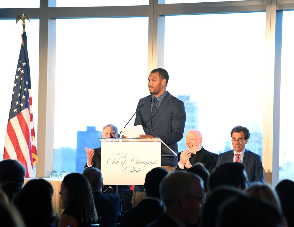 HOMETOWN HERO—Brooklyn Nets guard Sean Kilpatrick delivers an acceptance speech after receiving the CYO Hometown Hero Award at the 81st annual CYO Club of Champions Tribute at the Mandarin Oriental in Manhattan May 2. Kilpatrick, who played CYO basketball for Our Lady of Mercy in Port Chester, was one of five honorees at the dinner that raised over $520,000 for CYO in the archdiocese.