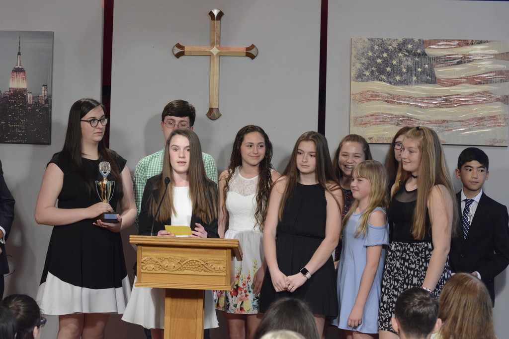 St. Denis-St. Columba School receives their Eddy Award for the best News Team in the elementary school division at the 44th annual Eddy Awards held at the archdiocese's ITV Studios in Yonkers May 19. St. St. Denis-St. Columba received five earned five Eddys.