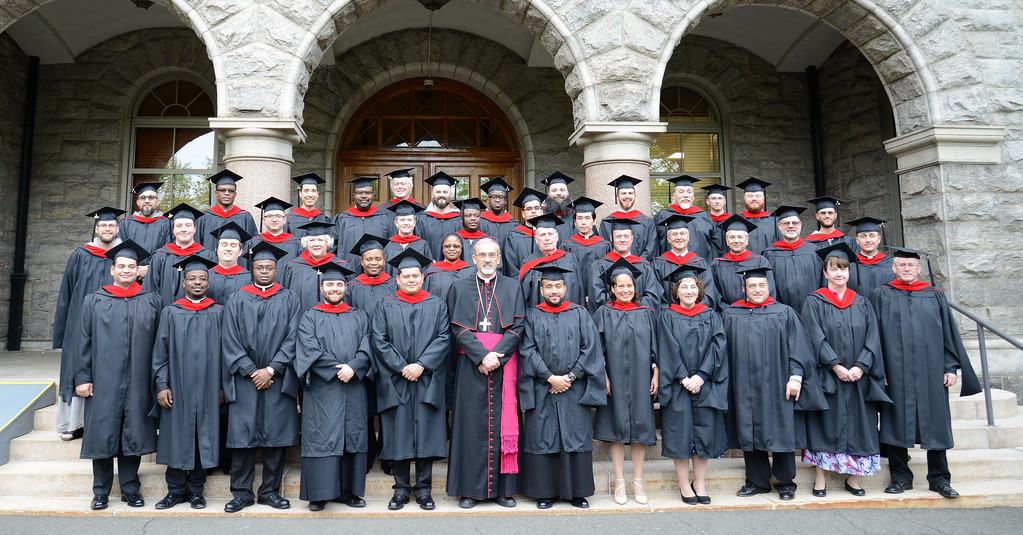 Graduates of St. Joseph's Seminary, Dunwoodie, gather at their academic convocation May 12. The seminary granted 19 Master of Divinity degrees and 14 Master of Arts in Theology degrees to graduating seminarians. Nine clergy, consecrated religious and laypeople received the Master of Arts in Theology after studies in Dunwoodie and 14 others from the Huntington campus. One post-master's certificate in Sacred Scripture and one post-master's certificate in Dogmatic Theology were earned by Yonkers graduates.