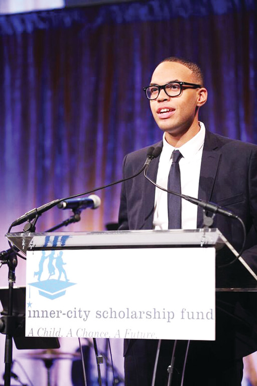 All Hallows High School senior Darwin Contreras delivers his speech to more than 400 guests at the 41st annual Inner-City Scholarship Fund Friends Gala. Contreras, who will attend the College of the Holy Cross on a full academic scholarship, shared his story of how the Inner-City Scholarship Fund opened opportunities for him.