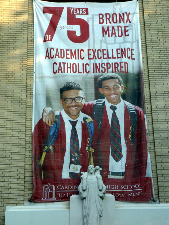 A banner hangs outside Cardinal Hayes noting the 75th anniversary of the boys' school.