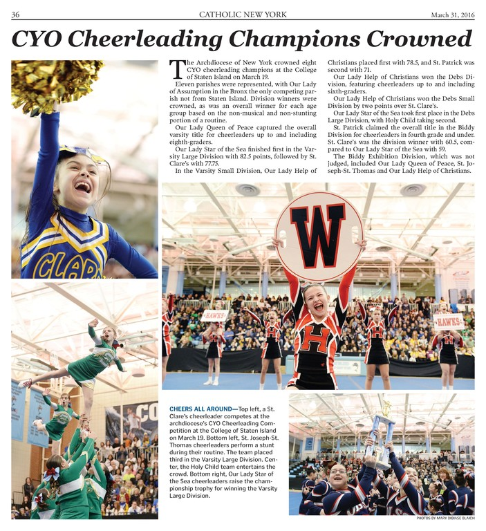 Among Catholic New York's eight awards received at the Catholic Media Conference in Quebec City June 23 was this first-place multiple picture package taken by photographer Mary DiBiase Blaich of the CYO cheerleading competition which appeared in the March 31, 2016 issue.