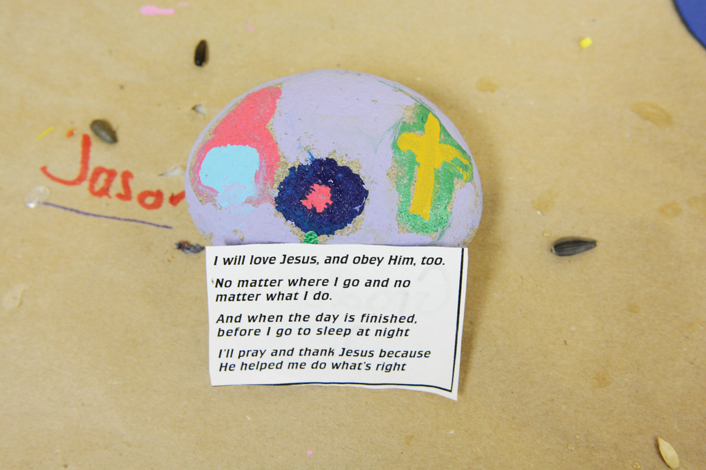 A student's craft project focusing on Jesus and the school's theme of obey.