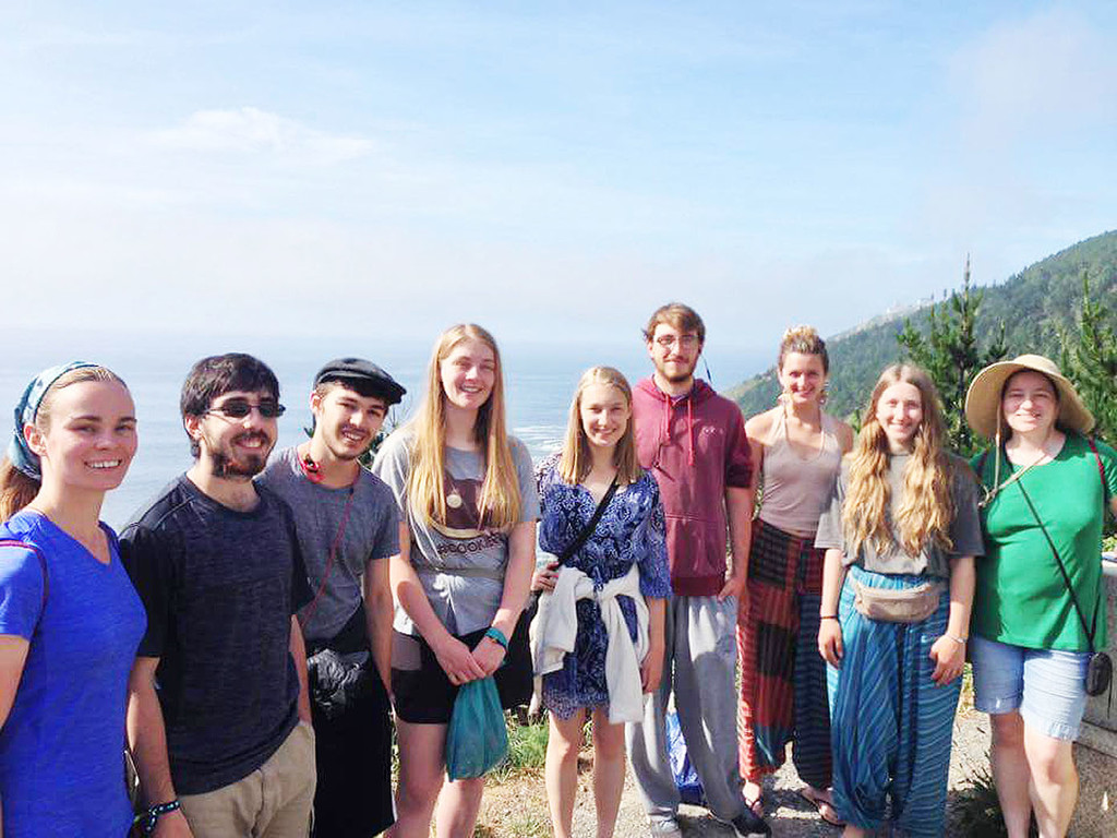 Nadramia, third from left, joins fellow students from SUNY Potsdam's Crane School of Music Concert Choir on the pilgrimage in Spain last month.