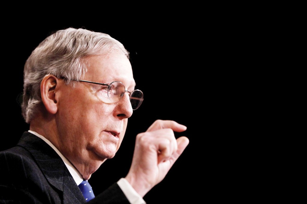 ADVOCATE—U.S. Senate Majority Leader Mitch McConnell, R-Ky., is seen on Capitol Hill April 7. Republicans' effort to pass a health care bill in the Senate collapsed July 17.