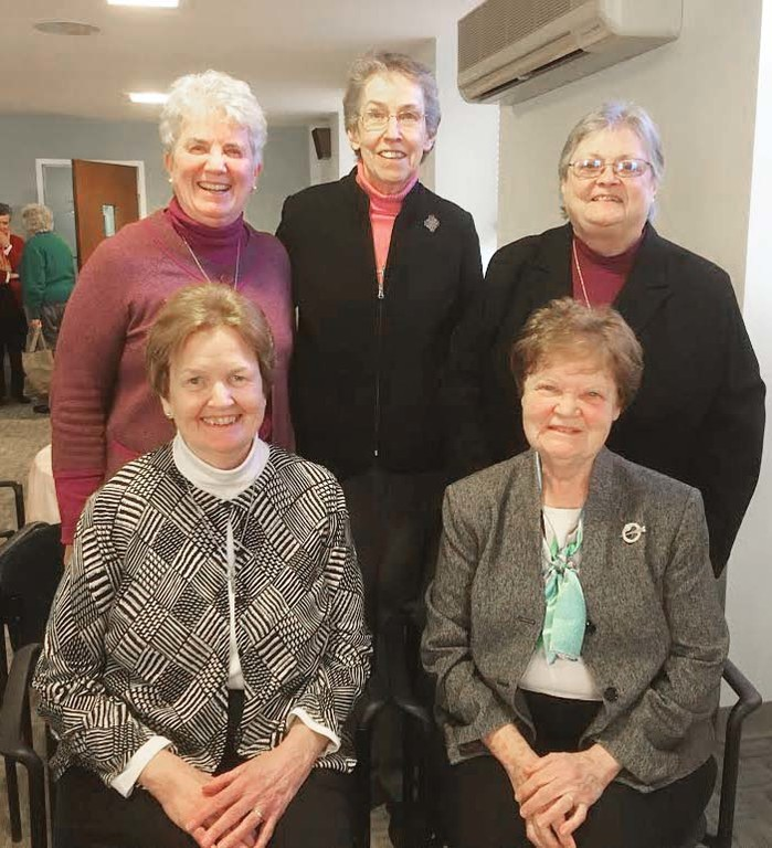 SERVANT LEADERS—The new leadership team of the Ursuline Sisters of the Eastern Province are, from front left: Sister Patricia Russell, O.S.U., councilor, and Sister Ann Peterson, O.S.U., councilor, and from back left: Sister Brenda Buckley, O.S.U., councilor; Sister Jane Finnerty, O.S.U., provincial, and Sister Maureen Welch, O.S.U., councilor.