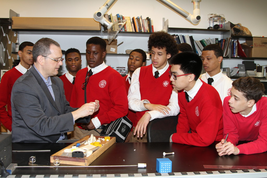 NEW HEIGHTS—Professor George Delagrammatikas from The Cooper Union demonstrates a STEM activity for La Salle Academy students, who participate in five programs at The Cooper Union.