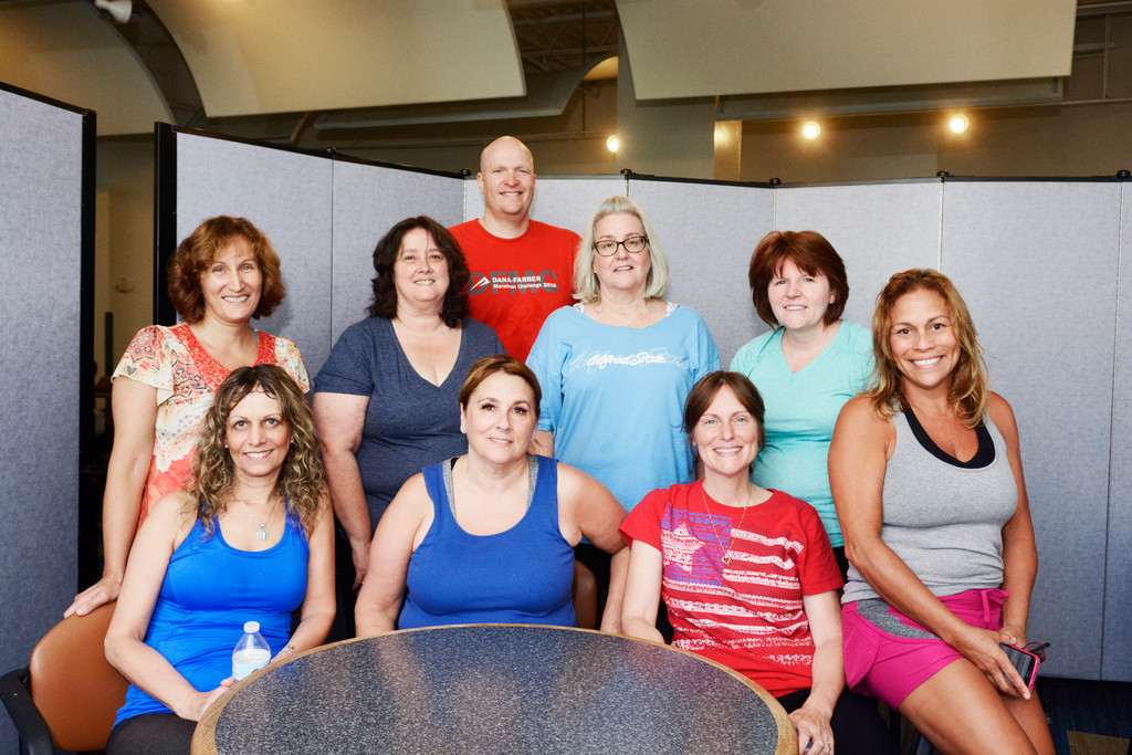 Spin class participants included: front row, Teresa Reverdito, Lauren Narog and Valerie Stathis; back row, Theresa Capellupo, Margaret Tremblay, Brian Donahue, Barbara Campiz, Kerry Boynes and Berthaliz Delgado.