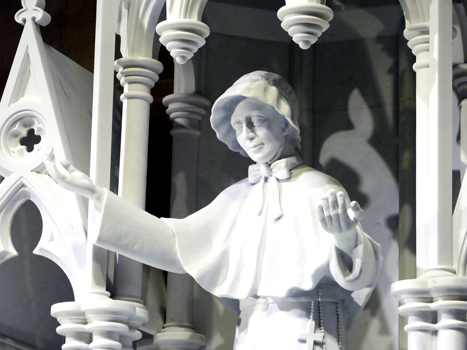 Mother Seton, a native New Yorker who founded the Sisters of Charity of New York 200 years ago and was later canonized as the first American-born saint, is depicted in the statue.