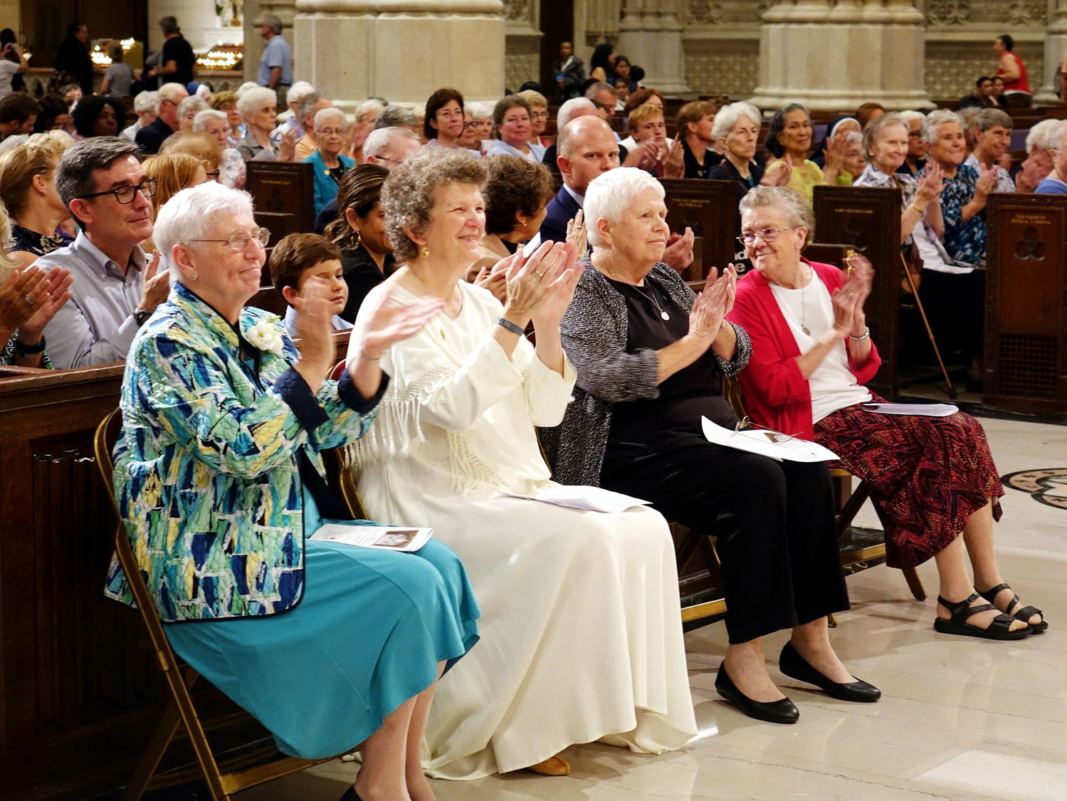 Several Sisters of Charity of New York applaud. The new Shrine of St. Elizabeth Ann Seton is the beneficiary of community support under the leadership of Sister Jane Iannucelli, S.C., president of the Sisters of Charity of New York.
