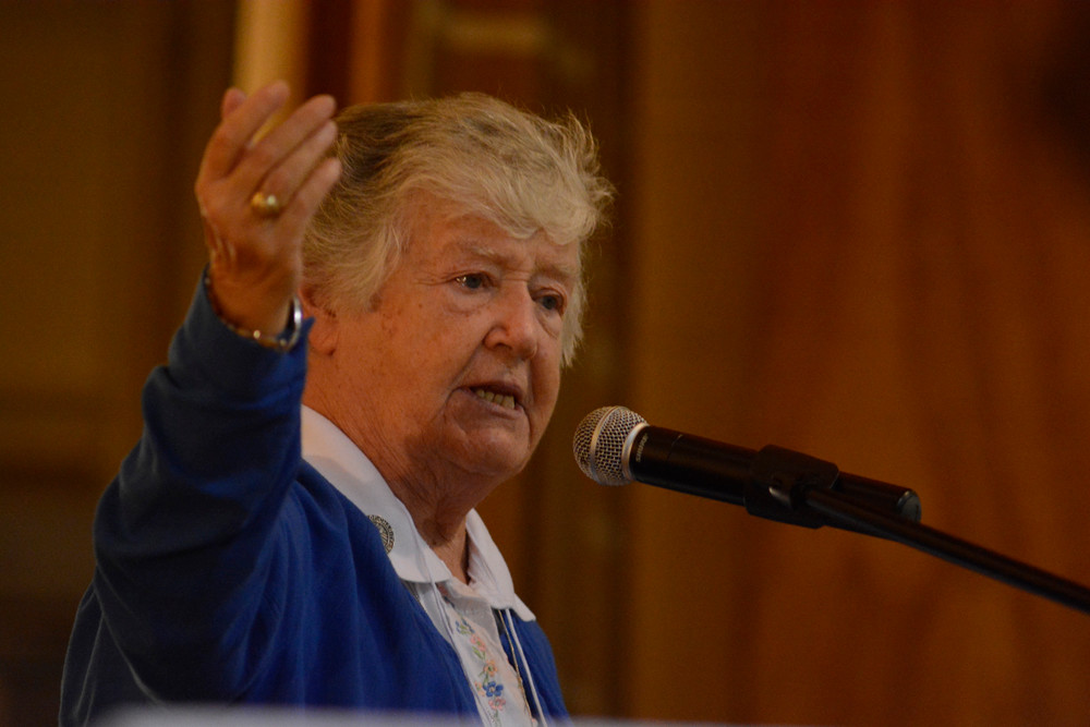 JUBILATION—A conference marking the 50th anniversary of the founding of the Catholic Charismatic Renewal movement was held Oct. 7 at Cathedral High School in Manhattan. Sister Nancy Kellar, S.C., served as mistress of ceremonies.