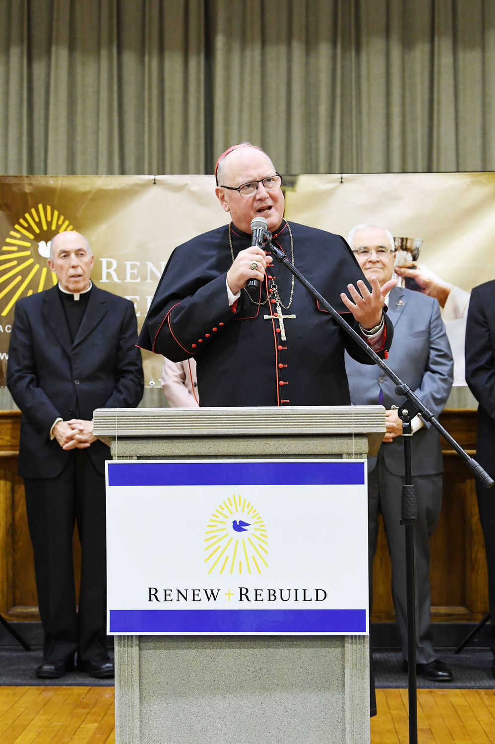 Cardinal Dolan and other officials formally introduced Renew + Rebuild, the archdiocese's parish fund-raising campaign, at a press conference Oct. 5 in Conran Hall at St. Teresa's parish, Staten Island.