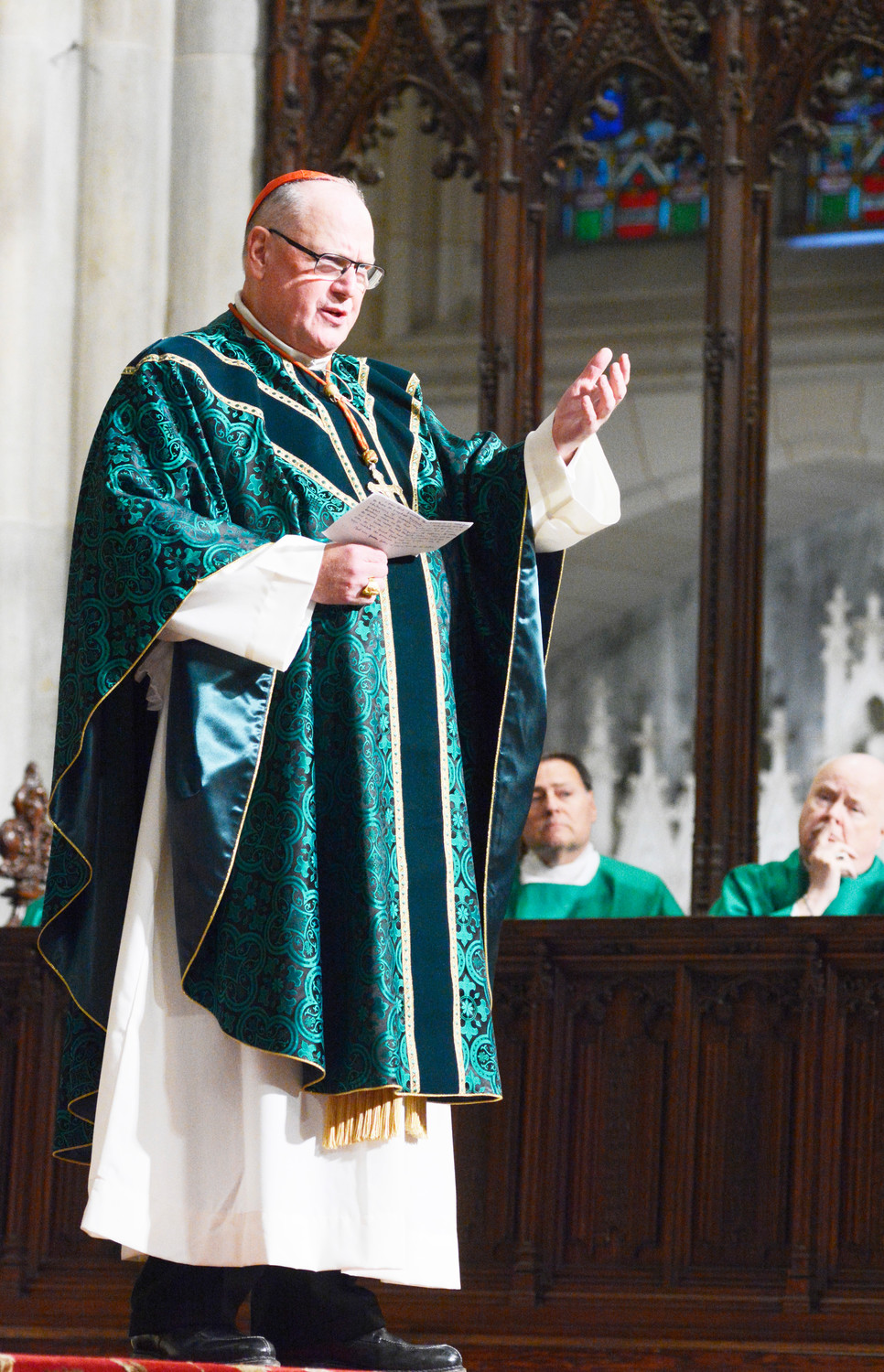 Cardinal Dolan comforts the congregation during the Nov. 5 Mass he offered at St. Patrick's Cathedral for victims of the Oct. 31 terrorist attack on a Lower Manhattan bike path.