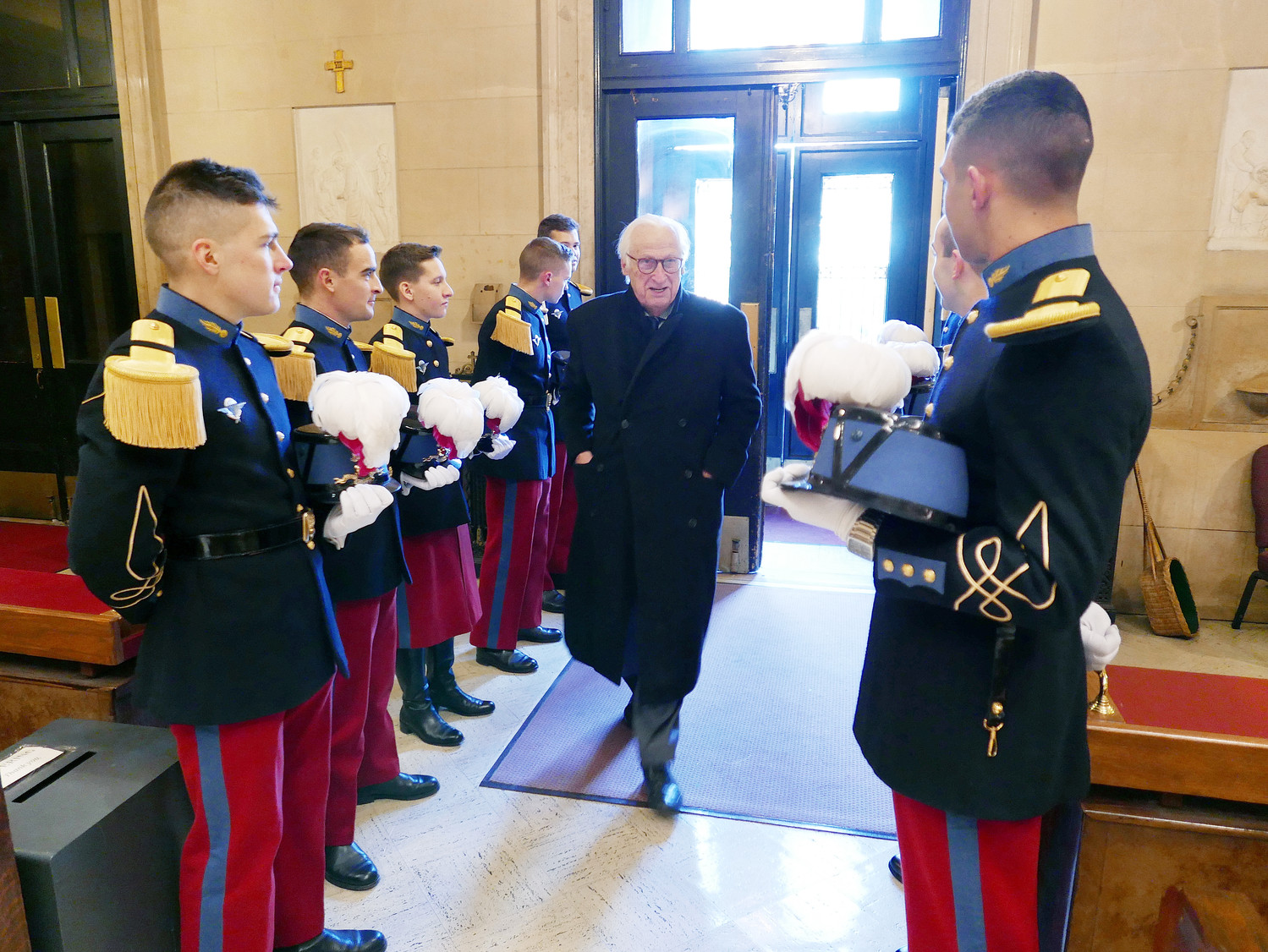 A dozen cadets from the Military Academy of St. Cyr in Versailles, France participated in the Nov. 11 ceremony. The cadets are serving as interns this semester at West Point.