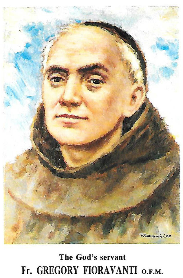 A prayer card of Venerable Franciscan Father Gregorio Fioravanti, O.F.M., the Italian founder of the Franciscan Missionary Sisters of the Sacred Heart.