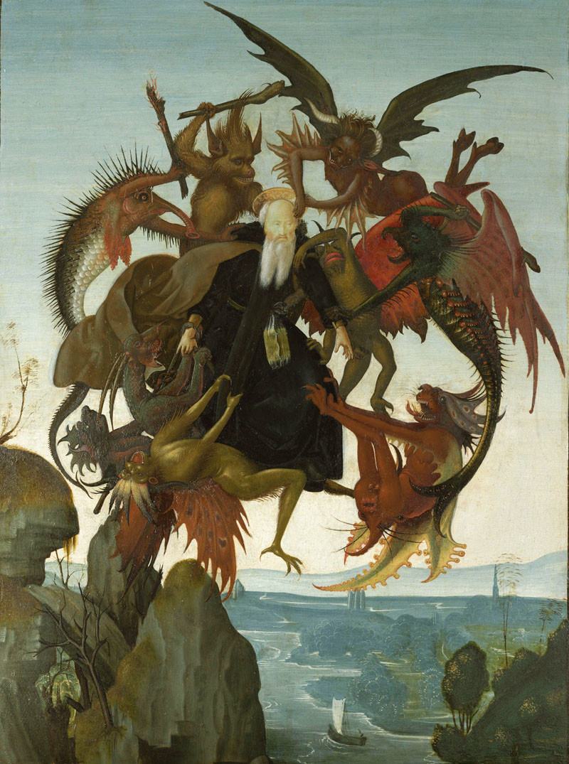 The Torment of Saint Anthony Painting, also by Michelangelo, below, 1487–1488, is showcased through tempera and oil on wood.