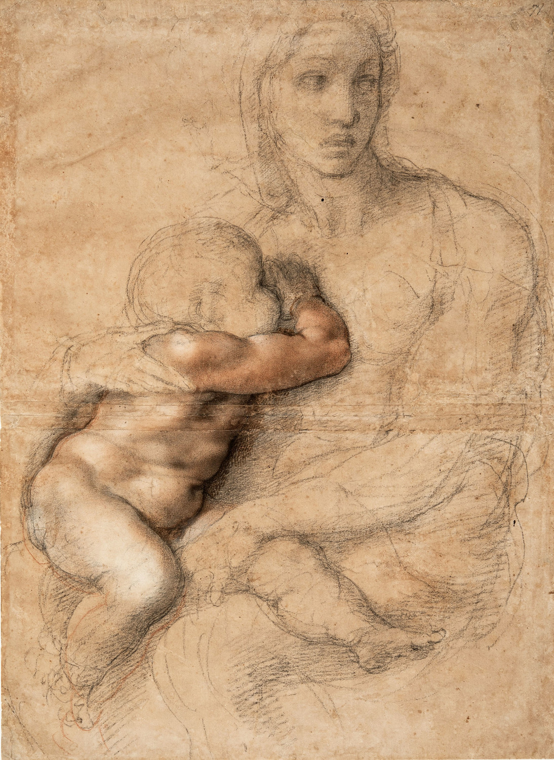 A Madonna and Child Drawing, by Michelangelo, at right, 1525–1530, is achieved through black and red chalk, white gouache, brush and brown wash.