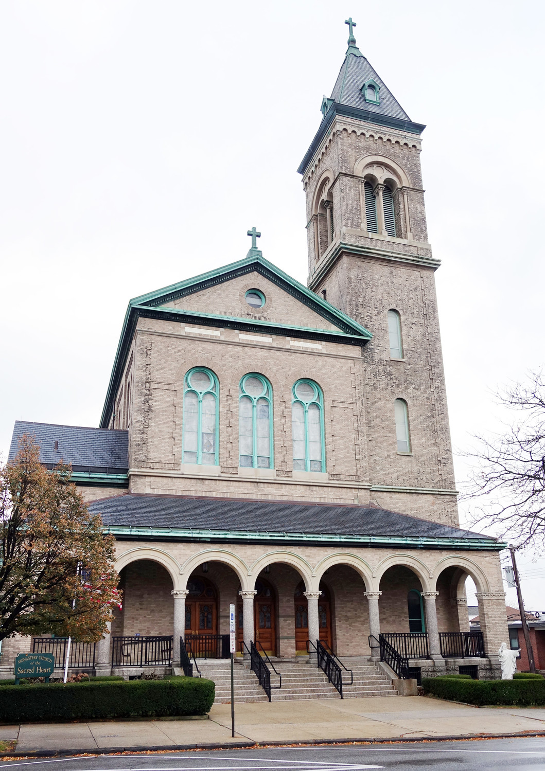 An exterior view of Sacred Heart Church.