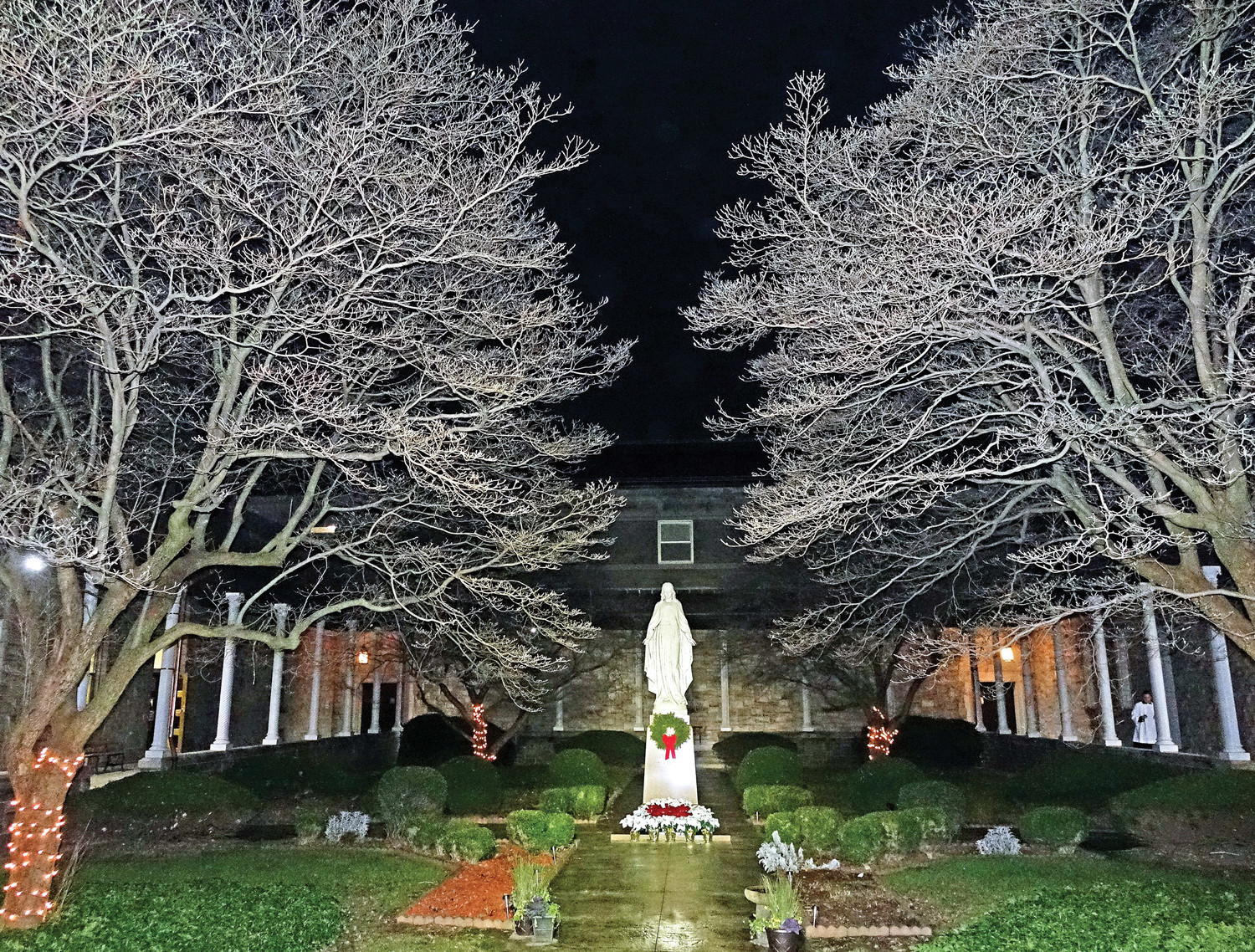 A courtyard at the seminary is beautifully decorated for the season.