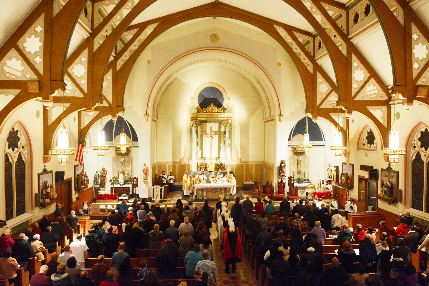 Cardinal Dolan celebrated a Mass to mark the 150th anniversary of St. Joseph's parish in Middletown Dec. 2. An overhead view reveals the character of the church's interior.
